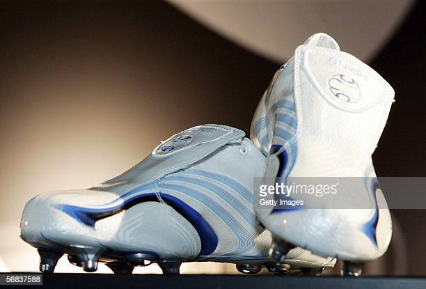 Claudio Pizarro`s new shoes are displayed during the Major adidias F50 Tunit Launch Event on February 13 2006 in Munich Germany