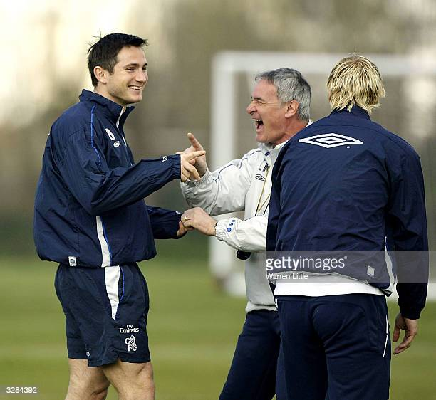 Claudio Ranieri Chelsea manager jokes with Frank Lampard during Chelsea team training prior to the game against Middlesbrough tomorrow on April 9...
