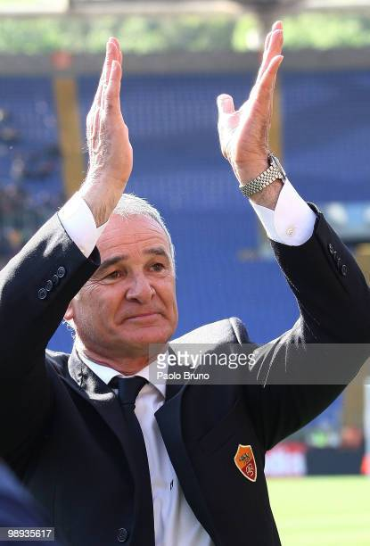 Claudio Ranieri coach of AS Roma celebrates victory after the Serie A match between AS Roma and Cagliari Calcio at Stadio Olimpico on May 9 2010 in...