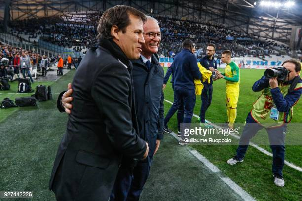 Claudio Ranieri coach of Nantes Rudi Garcia coach of Marseille during the Ligue 1 match between Olympique Marseille and Nantes at Stade Velodrome on...