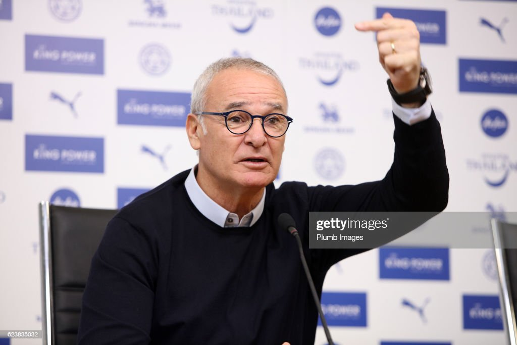 Claudio Ranieri during the Leicester City press conference at King Power Stadium on November 17 , 2016 in Leicester, United Kingdom.