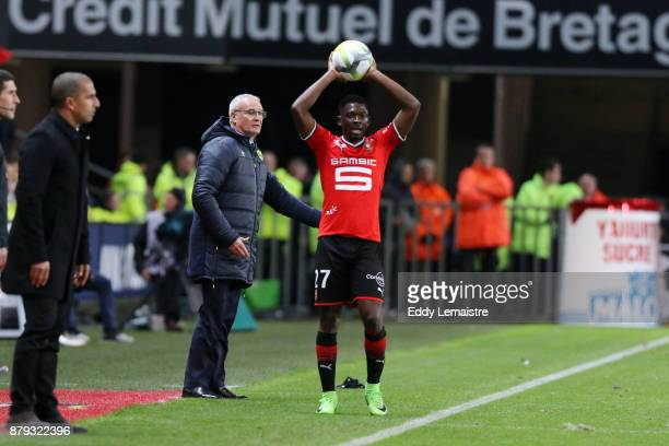 Claudio Ranieri Head coach of Nantes and Hamari Traore of Rennes during the Ligue 1 match between Stade Rennais and Nantes at Roazhon Park on...
