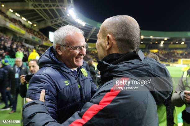 Claudio Ranieri Head coach of Nantes and Leonardo Jardim entraineur of Monaco during the Ligue 1 match between FC Nantes and AS Monaco at Stade de la...