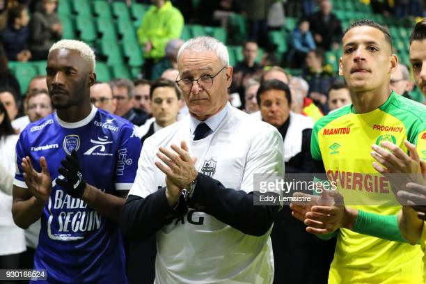 Claudio Ranieri Head coach of Nantes and Yacine Bammou of Nantes during the one minute of applause in memory of the kinesitherapeuthe of the team of...