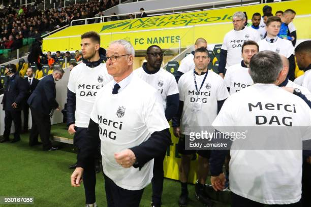 Claudio Ranieri Head coach of Nantes during the one minute of applause in memory of the kinesitherapeuthe of the team of Nantes Philippe Daguillon...