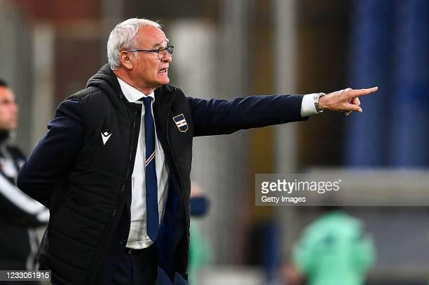 Claudio Ranieri head coach of Sampdoria gestures during the Serie A match between UC Sampdoria and Parma Calcio at Stadio Luigi Ferraris on May 22,...