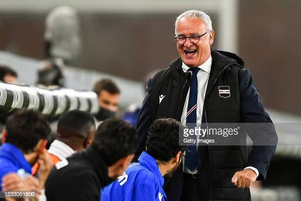 Claudio Ranieri head coach of Sampdoria laughs during the Serie A match between UC Sampdoria and Parma Calcio at Stadio Luigi Ferraris on May 22,...