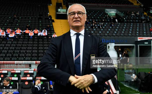 Claudio Ranieri, Head Coach of U.C. Sampdoria looks on prior to the Serie A match between Udinese Calcio and UC Sampdoria at Dacia Arena on May 16,...