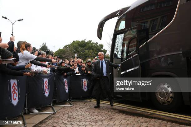 Claudio Ranieri Manager of Fulham arrives at the stadium prior to the Premier League match between Fulham FC and Southampton FC at Craven Cottage on...
