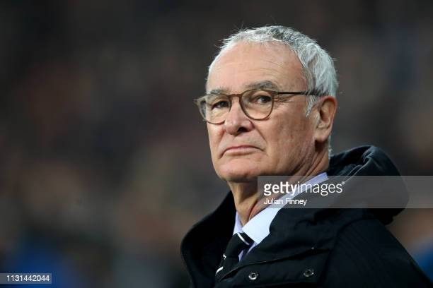Claudio Ranieri Manager of Fulham looks on during the Premier League match between West Ham United and Fulham FC at the London Stadium on February 22...