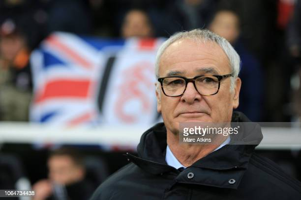 Claudio Ranieri Manager of Fulham looks on prior to the Premier League match between Fulham FC and Southampton FC at Craven Cottage on November 24...