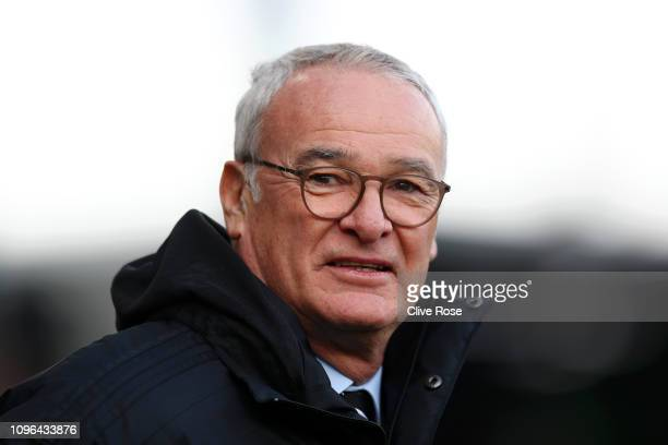 Claudio Ranieri Manager of Fulham looks on prior to the Premier League match between Fulham FC and Manchester United at Craven Cottage on February 9...
