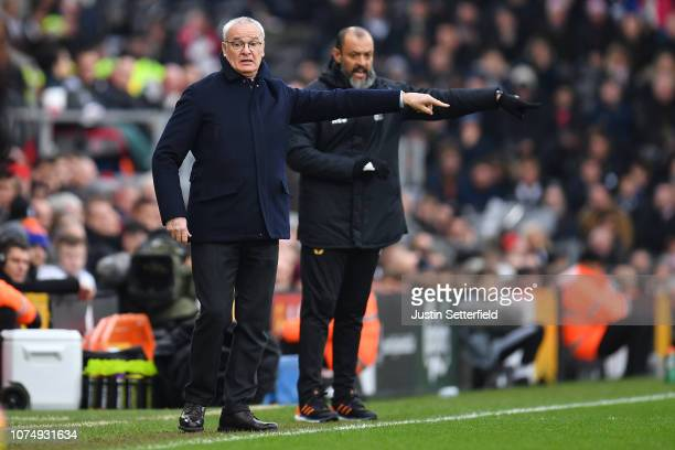 Claudio Ranieri Manager of Fulham makes a point during the Premier League match between Fulham FC and Wolverhampton Wanderers at Craven Cottage on...
