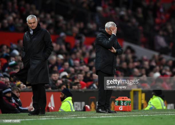 Claudio Ranieri Manager of Fulham reacts as Jose Mourinho Manager of Manchester United looks on during the Premier League match between Manchester...