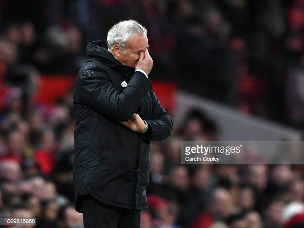 Claudio Ranieri Manager of Fulham reacts during the Premier League match between Manchester United and Fulham FC at Old Trafford on December 8 2018...