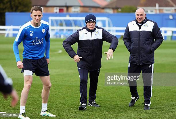 Claudio Ranieri manager of Leicester City Andy King and assistant manager Steve Walsh take part during a Leicester City training session at Belvoir...