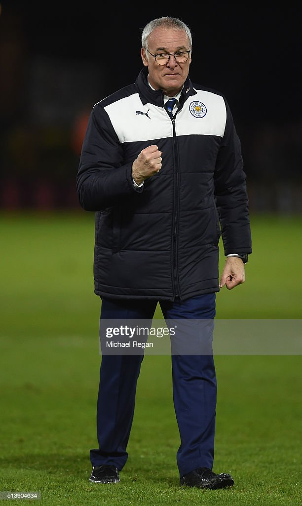 Claudio Ranieri Manager of Leicester City celeberates his team's 1-0 win in the Barclays Premier League match between Watford and Leicester City at Vicarage Road on March 5, 2016 in Watford, England.