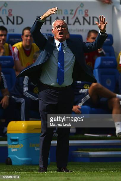 Claudio Ranieri Manager of Leicester City gestures during the Barclays Premier League match between Leicester City and Sunderland at The King Power...