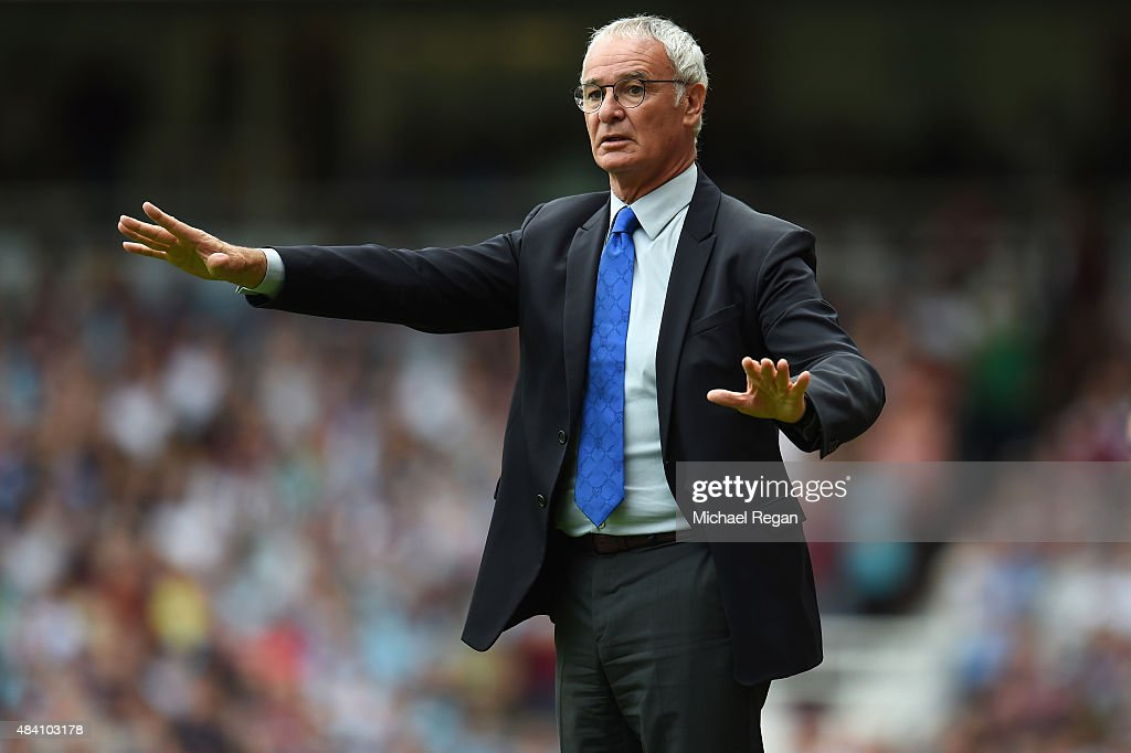 Claudio Ranieri Manager of Leicester City gestures during the Barclays Premier League match between West Ham United and Leicester City at the Boleyn Ground on August 15, 2015 in London, United Kingdom.