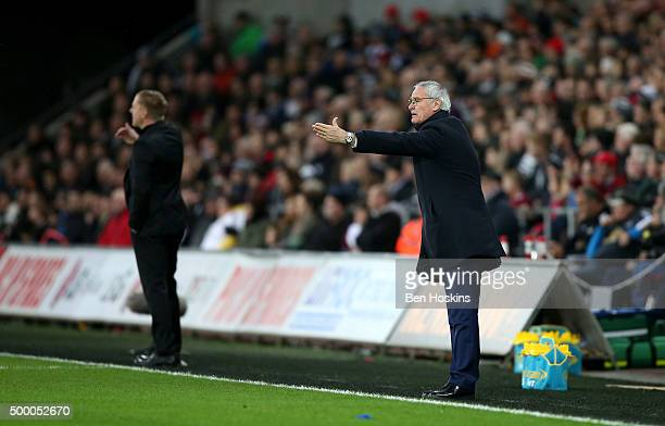 Claudio Ranieri Manager of Leicester City gestures during the Barclays Premier League match between Swansea City and Leicester City at Liberty...
