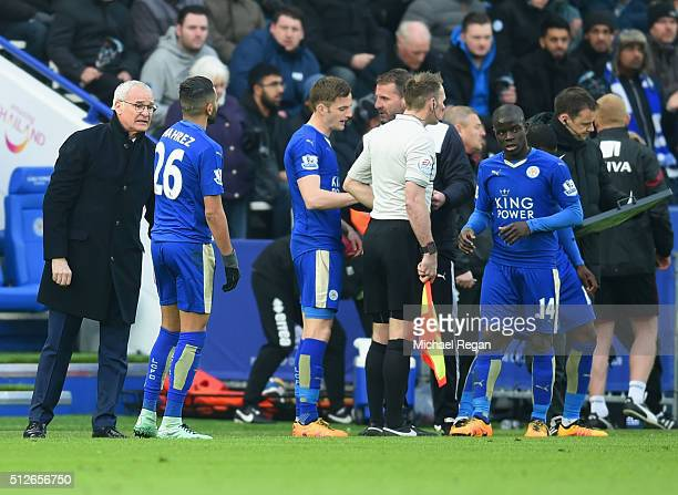 Claudio Ranieri Manager of Leicester City instructs Riyad Mahrez during the Barclays Premier League match between Leicester City and Norwich City at...