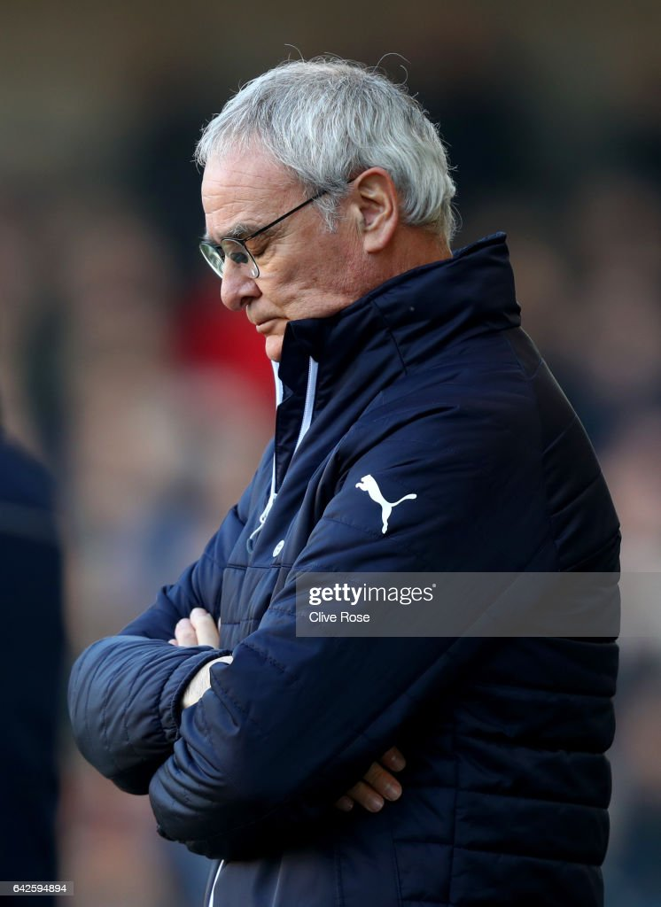 Claudio Ranieri, Manager of Leicester City is dejected during The Emirates FA Cup Fifth Round match between Millwall and Leicester City at The Den on February 18, 2017 in London, England.