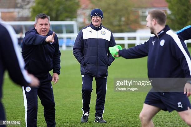 Claudio Ranieri, manager of Leicester City laughs during a Leicester City training session at Belvoir Drive Training Ground on May 3, 2016 in...