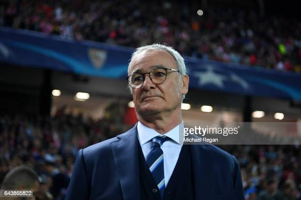 Claudio Ranieri manager of Leicester City looks on before the UEFA Champions League Round of 16 first leg match between Sevilla FC and Leicester City...