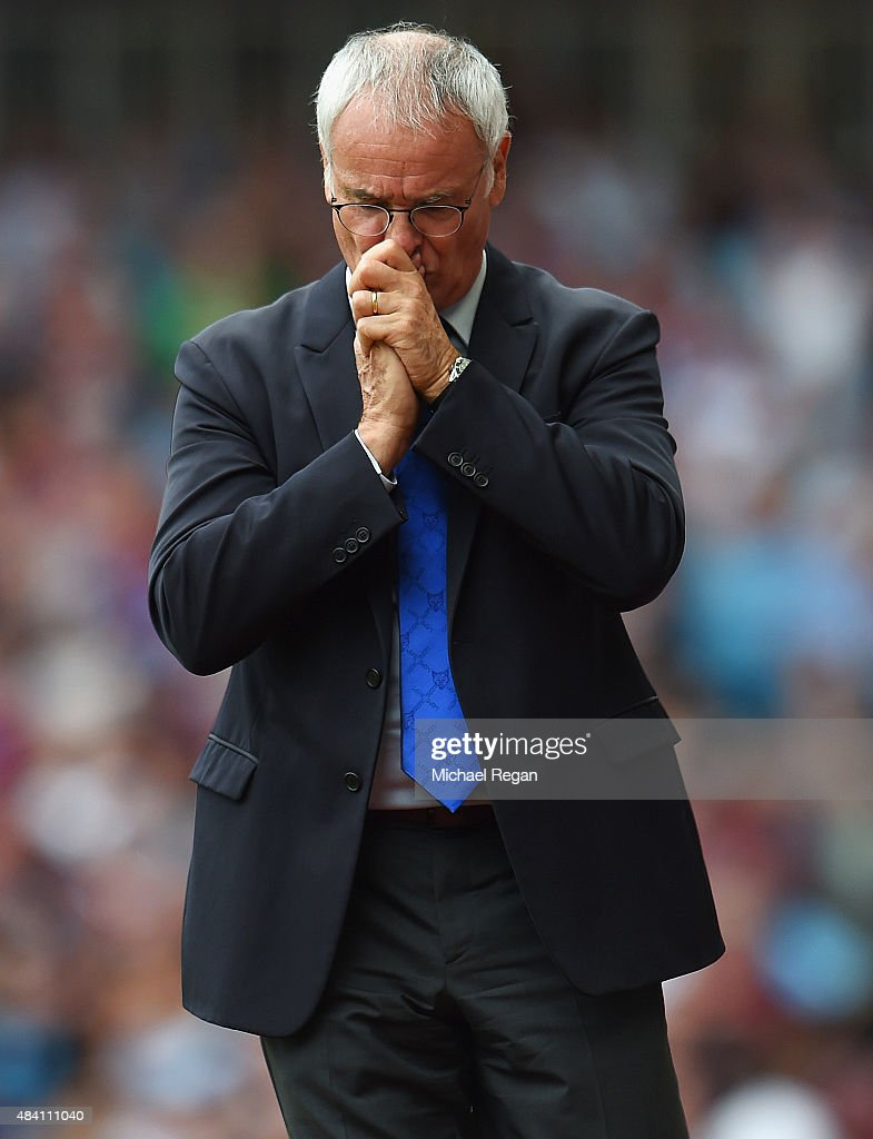 Claudio Ranieri Manager of Leicester City looks on during the Barclays Premier League match between West Ham United and Leicester City at the Boleyn Ground on August 15, 2015 in London, United Kingdom.
