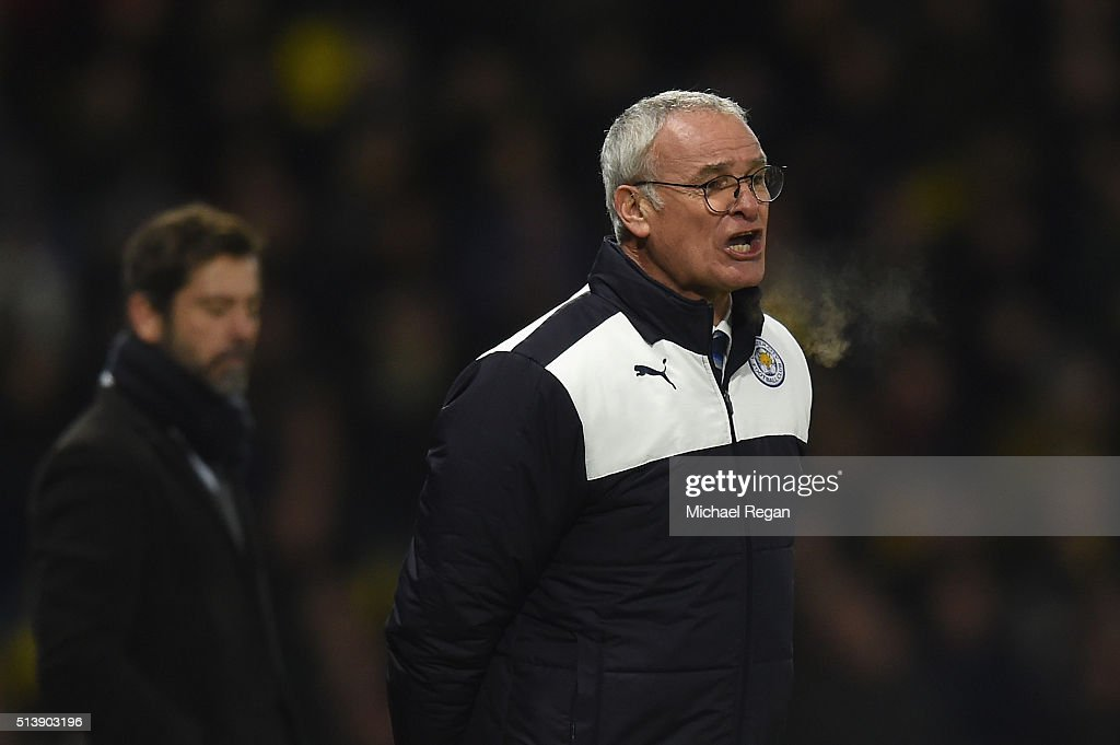 Claudio Ranieri Manager of Leicester City looks on during the Barclays Premier League match between Watford and Leicester City at Vicarage Road on March 5, 2016 in Watford, England.