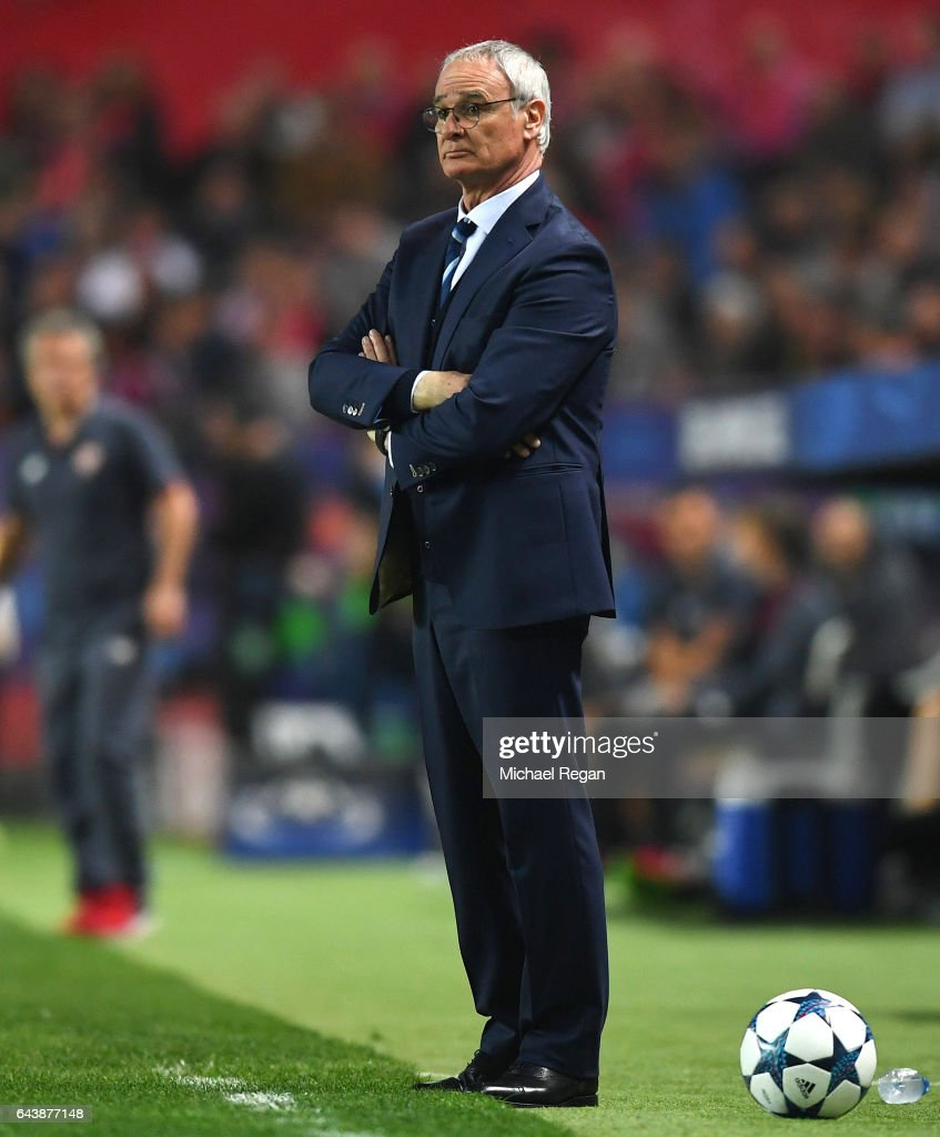 Claudio Ranieri, manager of Leicester City looks on from the touchline during the UEFA Champions League Round of 16 first leg match between Sevilla FC and Leicester City at Estadio Ramon Sanchez Pizjuan on February 22, 2017 in Seville, Spain.
