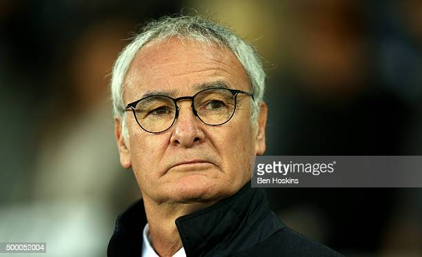 Claudio Ranieri Manager of Leicester City looks on prior to the Barclays Premier League match between Swansea City and Leicester City at Liberty...