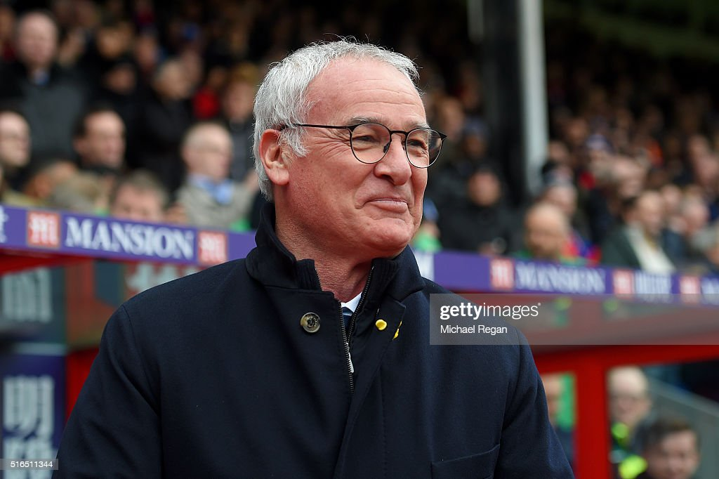 Claudio Ranieri Manager of Leicester City looks on prior to the Barclays Premier League match between Crystal Palace and Leicester City at Selhurst Park on March 19, 2016 in London, United Kingdom.