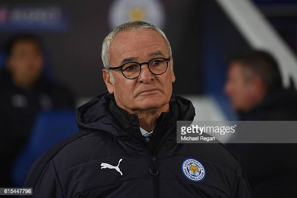Claudio Ranieri manager of Leicester City looks on prior to the UEFA Champions League Group G match between Leicester City FC and FC Copenhagen at...