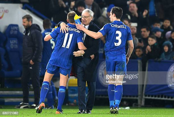 Claudio Ranieri Manager of Leicester City Marc Albrighton of Leicester City and Ben Chilwell of Leicester City celebrate victory during the Premier...