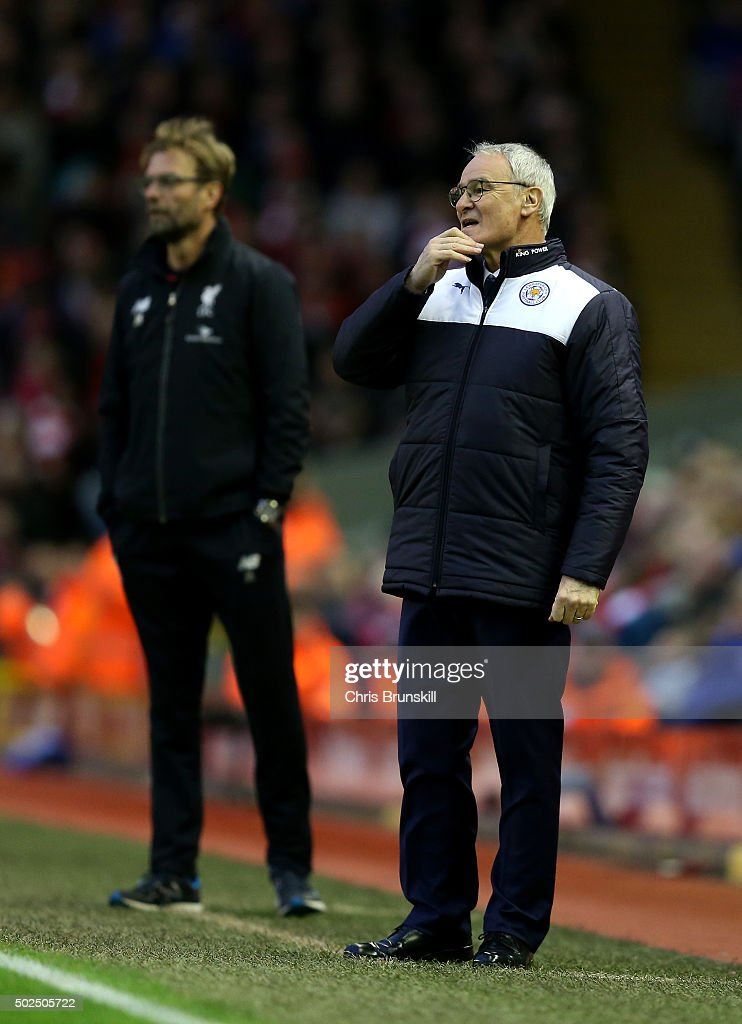 Claudio Ranieri, Manager of Leicester City (r) reacts during the Barclays Premier League match between Liverpool and Leicester City at Anfield on December 26, 2015 in Liverpool, England.