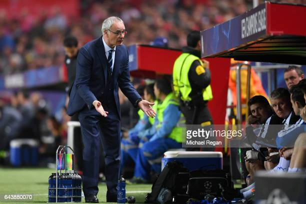 Claudio Ranieri manager of Leicester City reacts towards his bench during the UEFA Champions League Round of 16 first leg match between Sevilla FC...