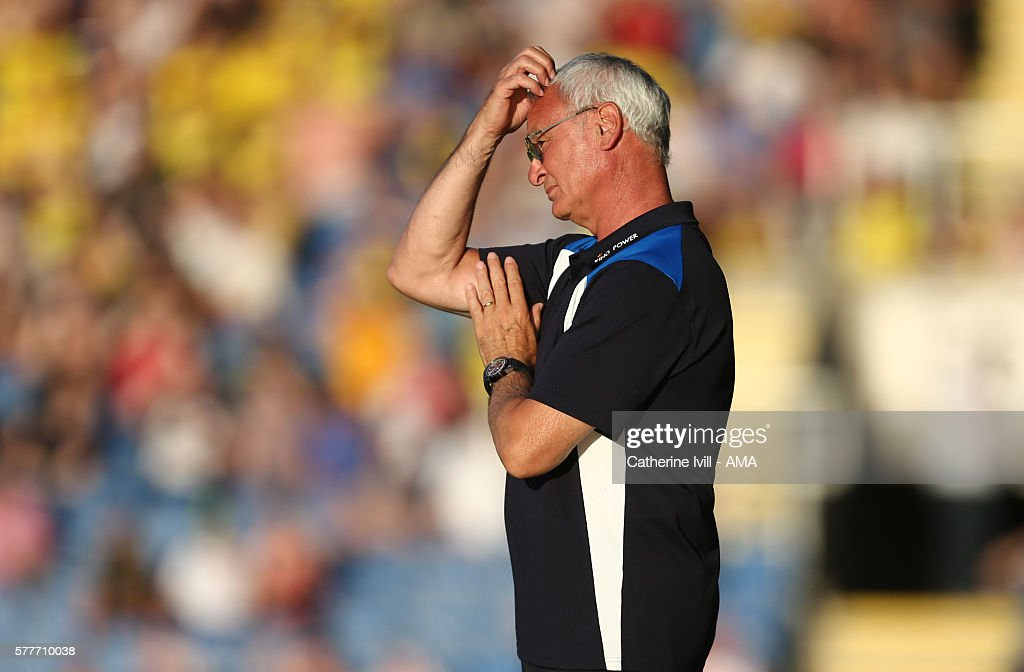 Claudio Ranieri manager of Leicester City scratches his head during the Pre-Season Friendly match between Oxford United and Leicester City at Kassam Stadium on July 19, 2016 in Oxford, England.