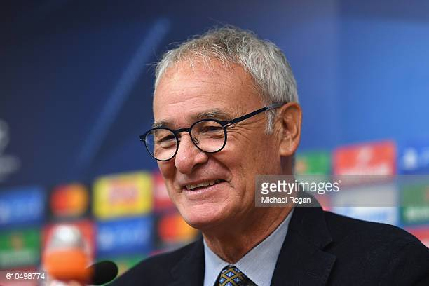 Claudio Ranieri Manager of Leicester City speaks during a Leicester City press conference ahead of their Champions League match against FC Porto at...