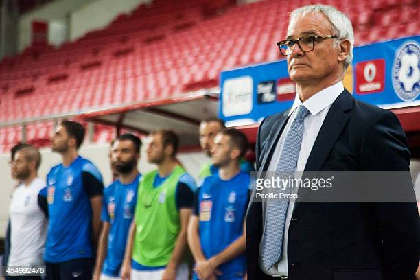Claudio Ranieri new coach of the Greek Team is seen listening to the Greek National Anthem before Romania beat Greece 10 for the European...