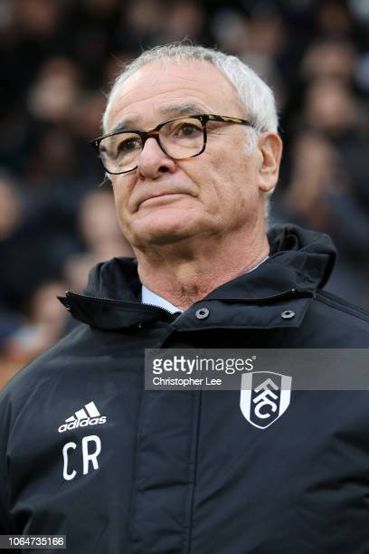 Claudio Ranieri of Fulham looks on prior to the Premier League match between Fulham FC and Southampton FC at Craven Cottage on November 24 2018 in...