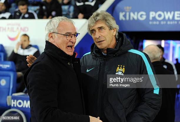 Claudio Ranieri of Leicester City with Manuel Pellegrini of Manchester City at King Power Stadium ahead of the Barclays Premier League match between...