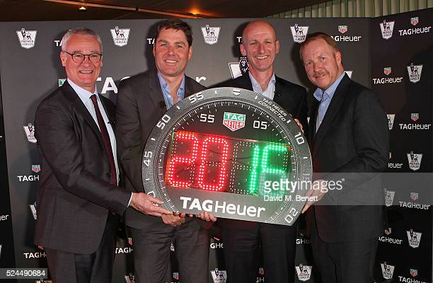 Claudio Ranieri Richard Masters Mike Riley and Rob Diver annouce TAG Heuer as the Official Timekeeper of The Premier League on April 26 2016 in...