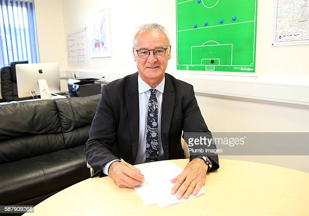 Claudio Ranieri Signs a New Contract with Leicester City at Belvoir Drive Training Complex on August 9 2016 in Leicester United Kingdom