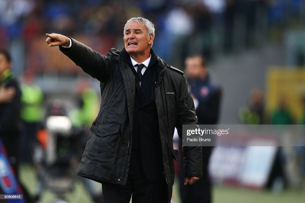 Claudio Ranieri the coach of AS Roma shouts during the Serie A match between AS Roma and Bologna FC at Stadio Olimpico on November 1, 2009 in Rome, Italy.