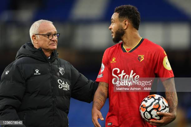 Claudio Ranieri the head coach / manager of Watford congratulates Joshua King of Watford who scored a hat-trick after the 2-5 victory during the...