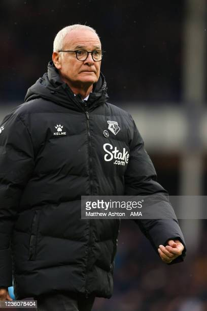 Claudio Ranieri the head coach / manager of Watford during the Premier League match between Everton and Watford at Goodison Park on October 23, 2021...