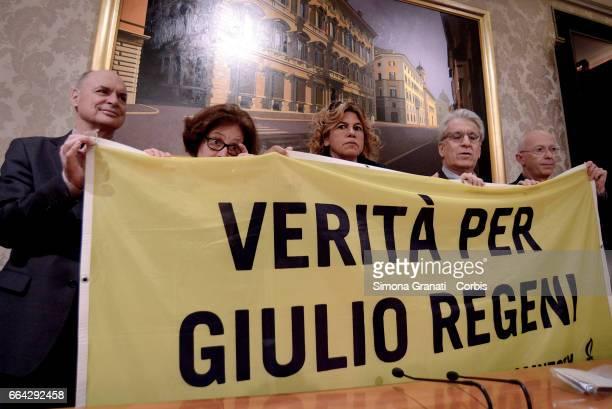 Claudio Regeni and his wife Paola parents of Giulio Regeni lawyer Alessandra Ballerini Senator Luigi Manconi and Amnesty International Italy's...