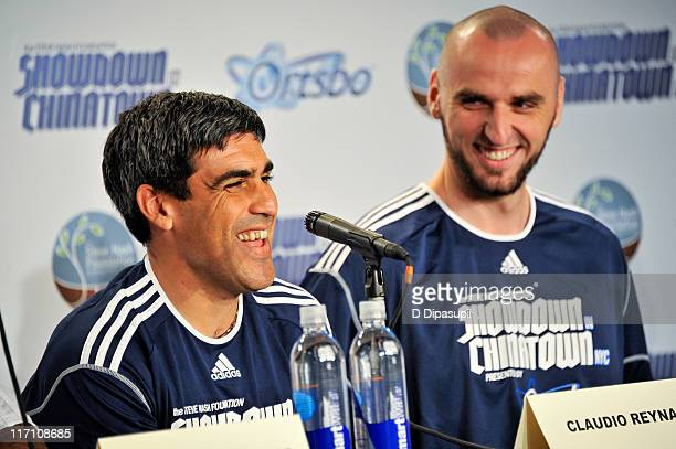 Claudio Reyna and Marcin Gortat attend the press conference for the 2011 Showdown in Chinatown soccer match at the Hudson Room at Trump Soho Hotel on...