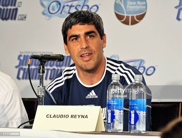 Claudio Reyna attends the press conference for the 2011 Showdown in Chinatown soccer match at the Hudson Room at Trump Soho Hotel on June 22 2011 in...